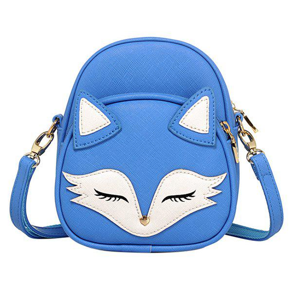 Cute Fox Pattern and PU Leather Design Women's Crossbody Bag - BLUE