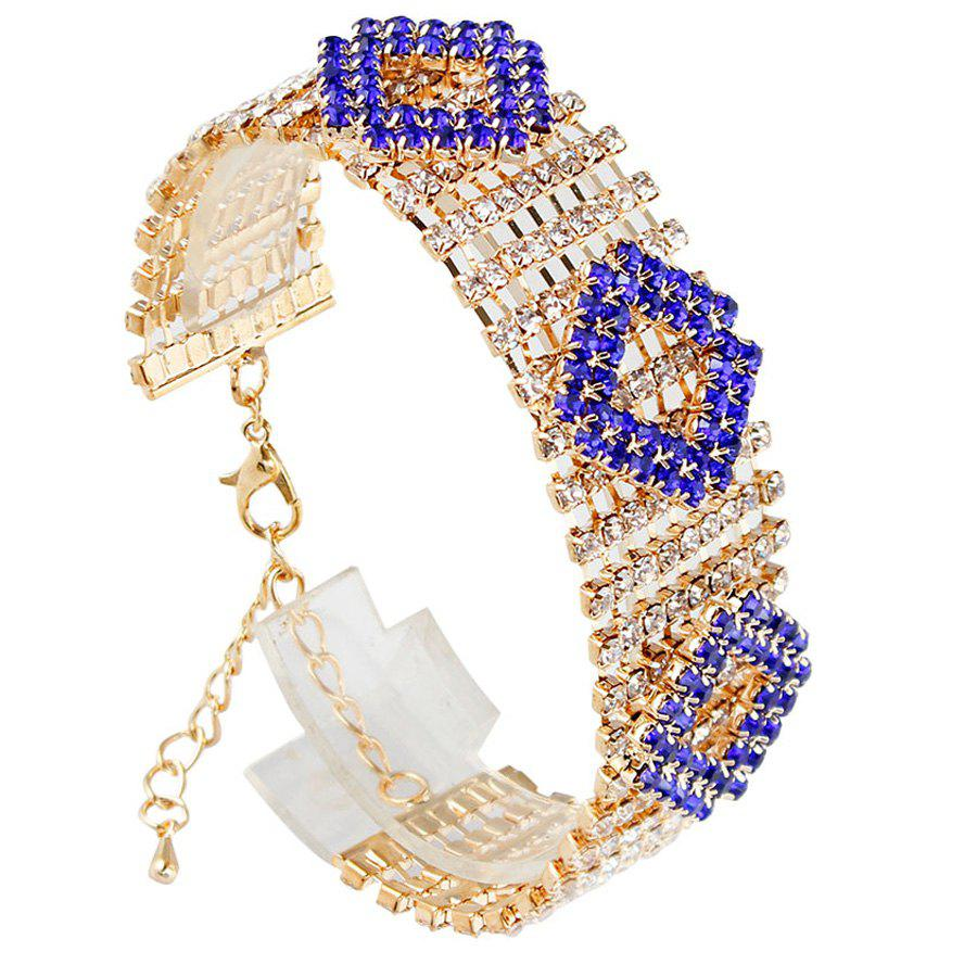 Geometric Rhinestoned Hollow Out Bracelet - BLUE