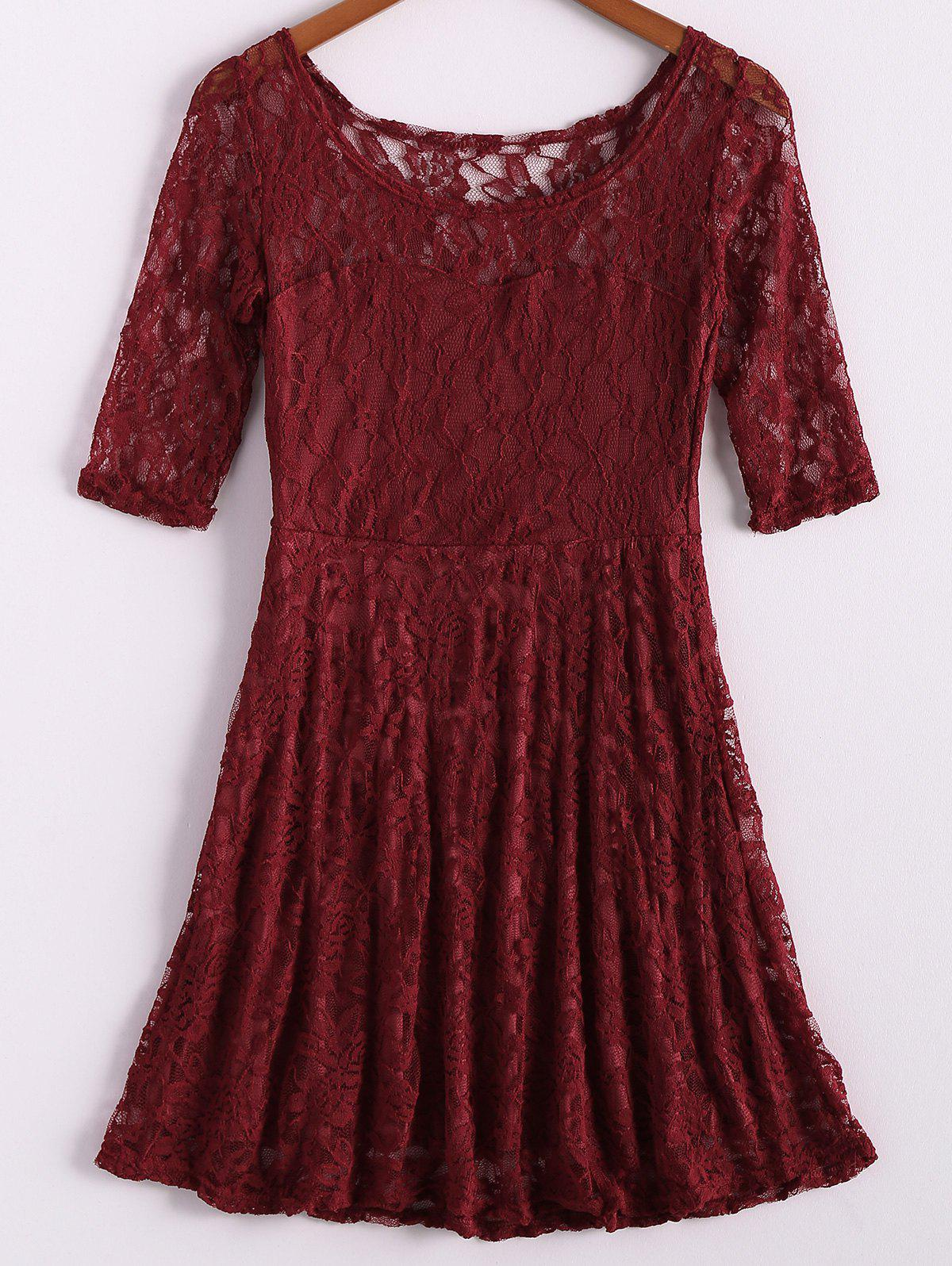 Charming Scoop Collar Solid Color Hollow Out Half Sleeve Pleated Women's Lace Dress - RED M