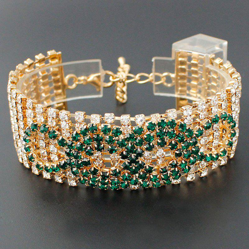 Knot Rhinestoned Hollow Out Bracelet - GREEN