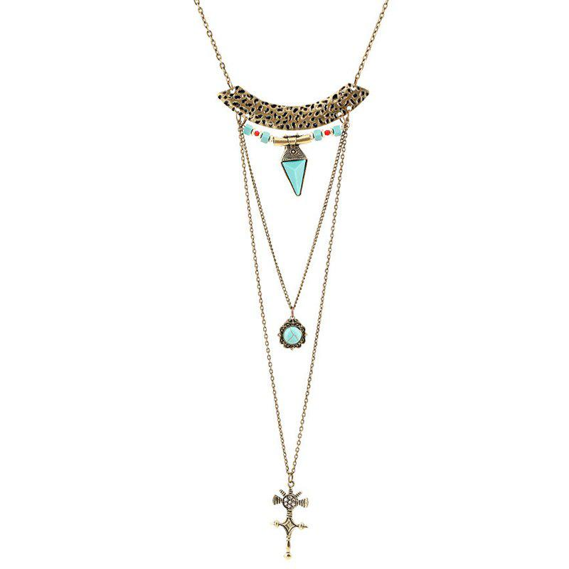 Crucifix Faux Turquoise Multilayered Sweater Chain - GOLDEN