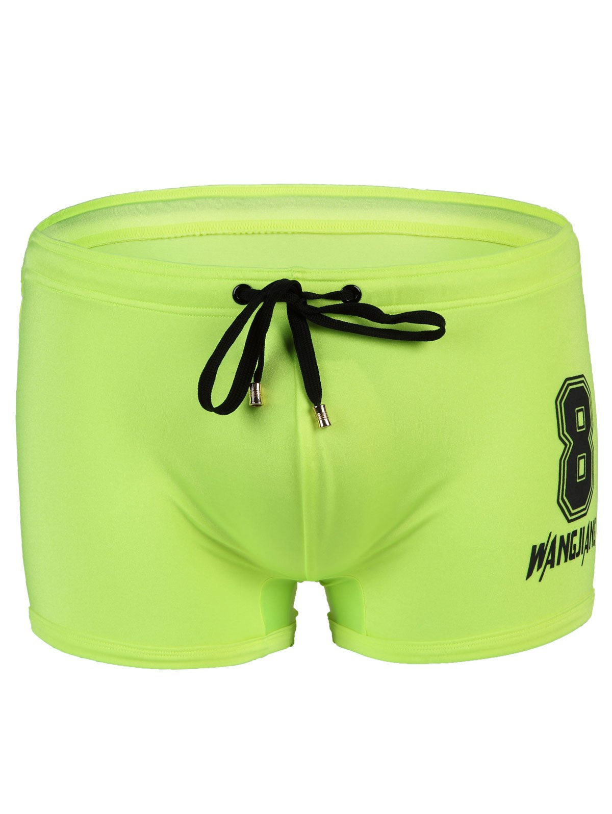 Men's Slim Fit Lace Up Number Printed Swimwear - NEON GREEN S