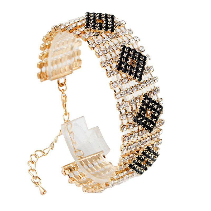 Chic Style Rhinestoned Rhombus Hollow Out Bracelet For Women