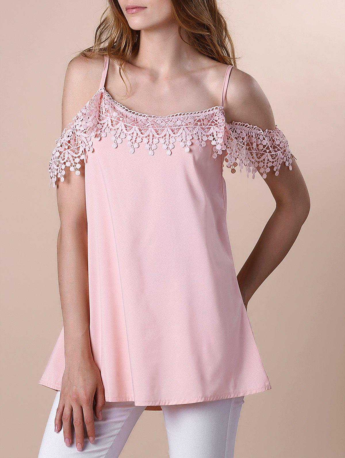 Sweet Lace Spliced Spaghetti Strap Womens DressWomen<br><br><br>Size: L<br>Color: PINK