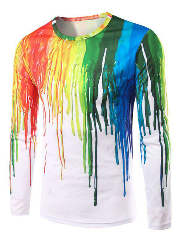 Men's Round Neck 3D Colorful Splash-Ink Print Long Sleeves T-Shirt