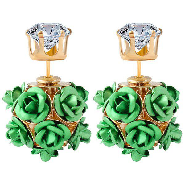 Pair of Rose Shape Rhinestone Earrings - GREEN
