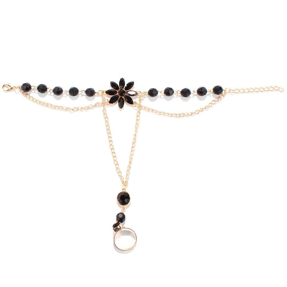 Fake Gemstone Floral Anklet - BLACK