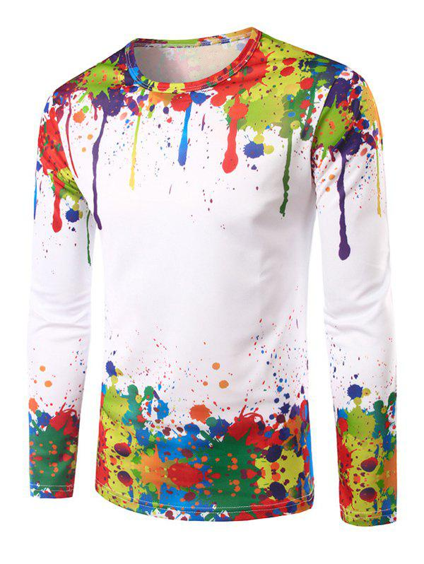 Men's Round Neck 3D Colorful Splash-Ink Printing Long Sleeves T-Shirt