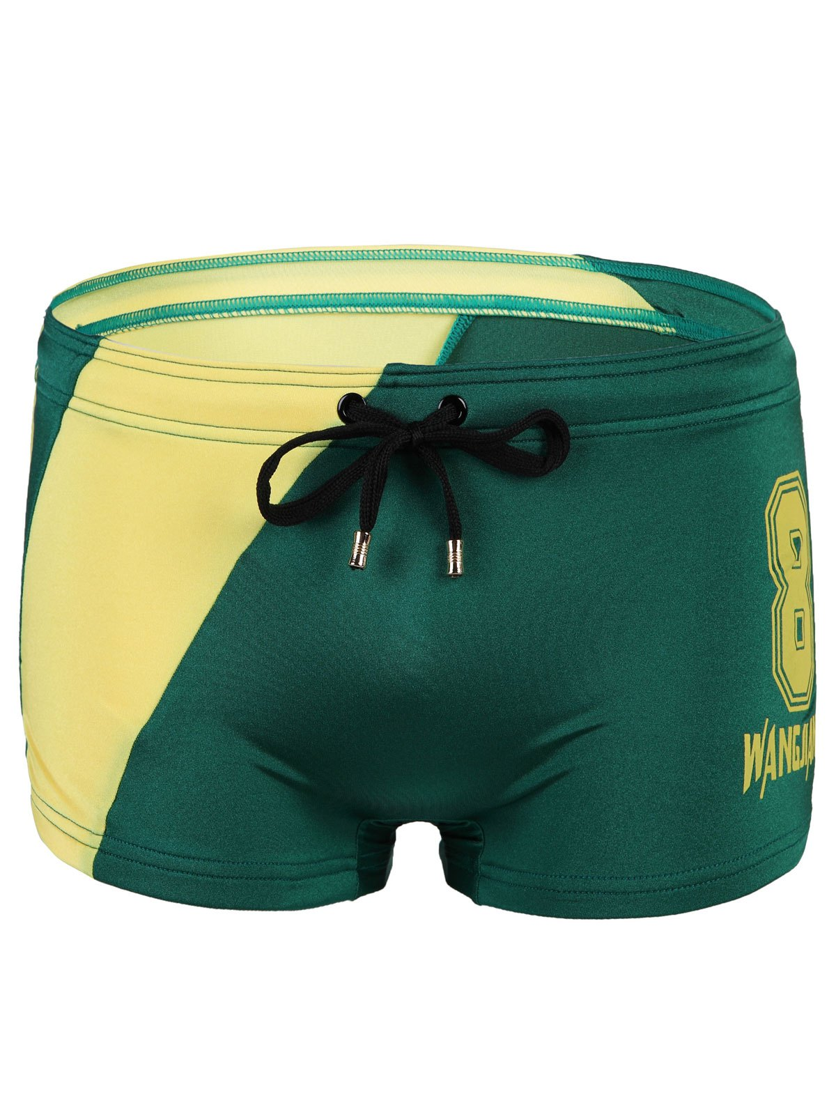 Men's Splicing Slim Fit Lace Up Number Printing Swimwear - GREEN L