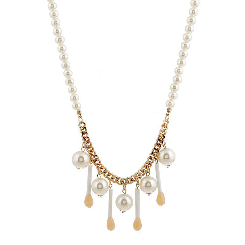 Tassels Faux Pearl Pendant Necklace - GOLDEN
