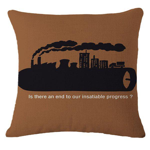 Creative Industrial Pollution Warning Pattern Square Shape Pillowcase (Without Pillow Inner) - COFFEE