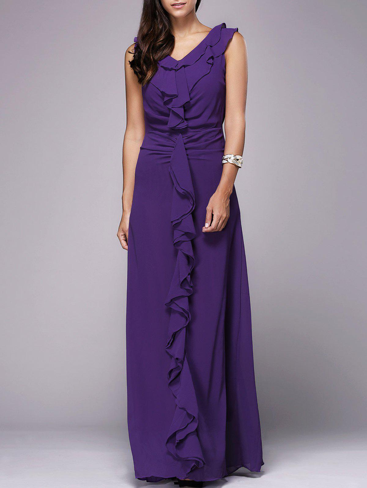 OL Style Women's V Neck Sleeveless Flounced Pure Color Maxi Dress - PURPLE XL