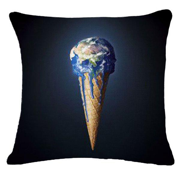 Creative Thawing Earth Warning Pattern Square Shape Pillowcase (Without Pillow Inner) - BLACK
