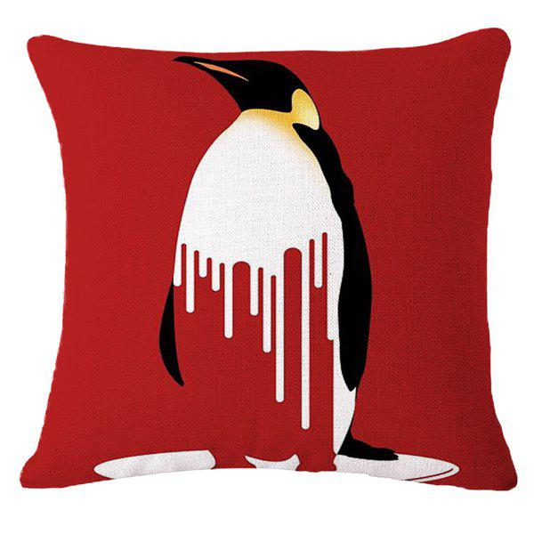 Creative Melting Penguin Warning Pattern Square Shape Pillowcase (Without Pillow Inner) - RED