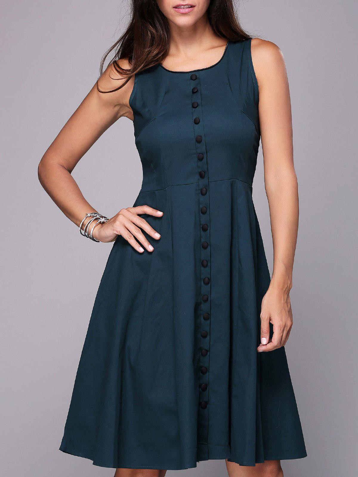 Sleeveless Button Up Fit and Flare Dress - GREEN 2XL