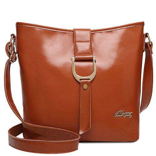 Simple Letter and Solid Color Design Women's Crossbody Bag - BROWN