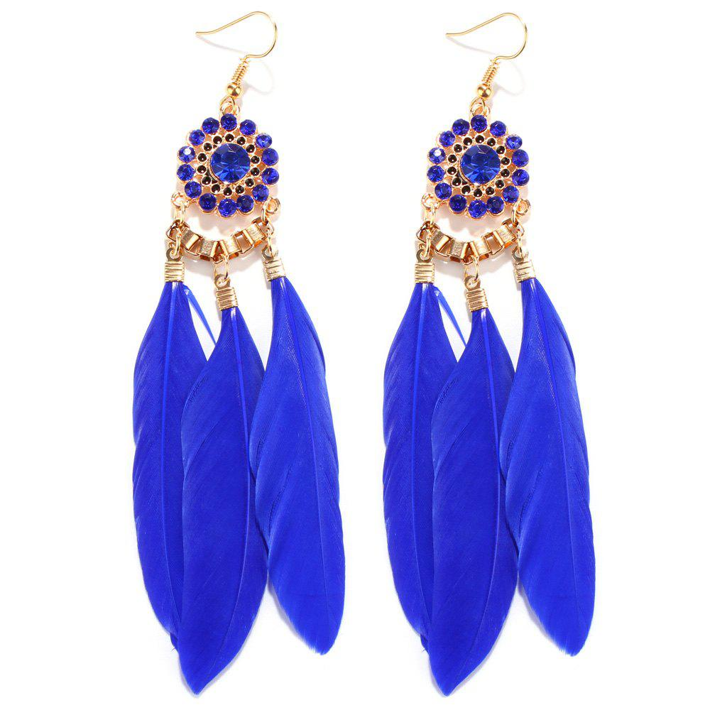 Faux Sapphire Floral Alloy Rhinestone Feather Earrings - BLUE