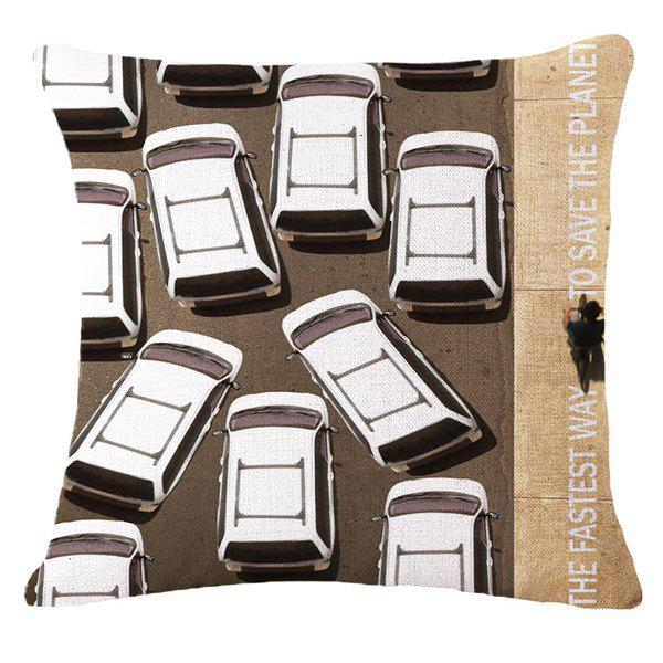 Creative Traffic Jam Warning Pattern Square Shape Pillowcase (Without Pillow Inner) - COLORMIX