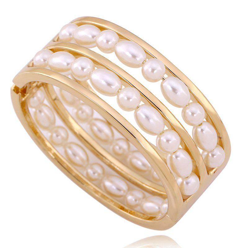 Multilayered Artificial Pearl Bracelet - GOLDEN