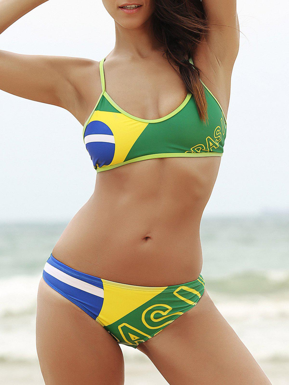 Trendy Spaghetti Strap Brazilian Flag Bikini Set - L GREEN
