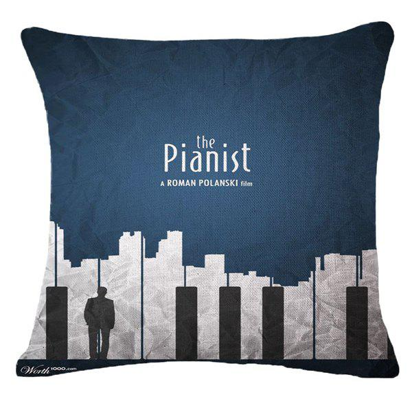 Creative Pianist and City Landscape Pattern Square Shape Pillowcase (Without Pillow Inner) - CADETBLUE