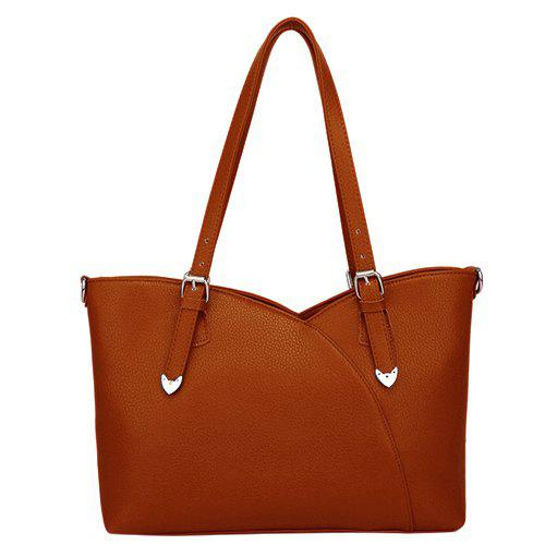 Graceful Buckles and Solid Color Design Women's Shoulder Bag - BROWN