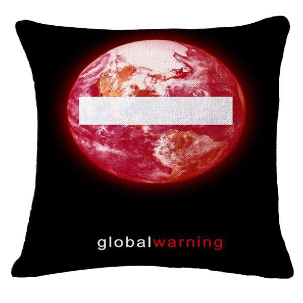Creative Global Warning Pattern Square Shape Pillowcase (Without Pillow Inner) - BLACK