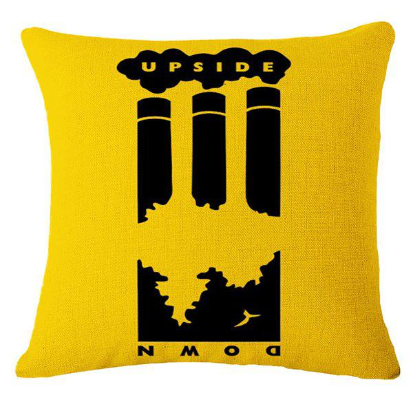 Creative Earth Crisis Warning Pattern Square Shape Pillowcase (Without Pillow Inner) - DEEP YELLOW