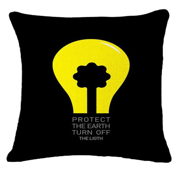 Creative Protect Earth Warning Pattern Square Shape Pillowcase (Without Pillow Inner) - YELLOW/BLACK