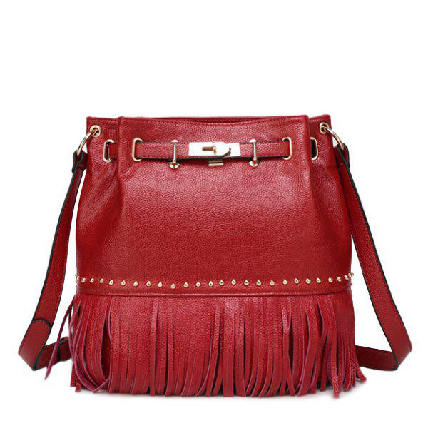 Stylish Fringe and Metal Design Women's Crossbody Bag - RED