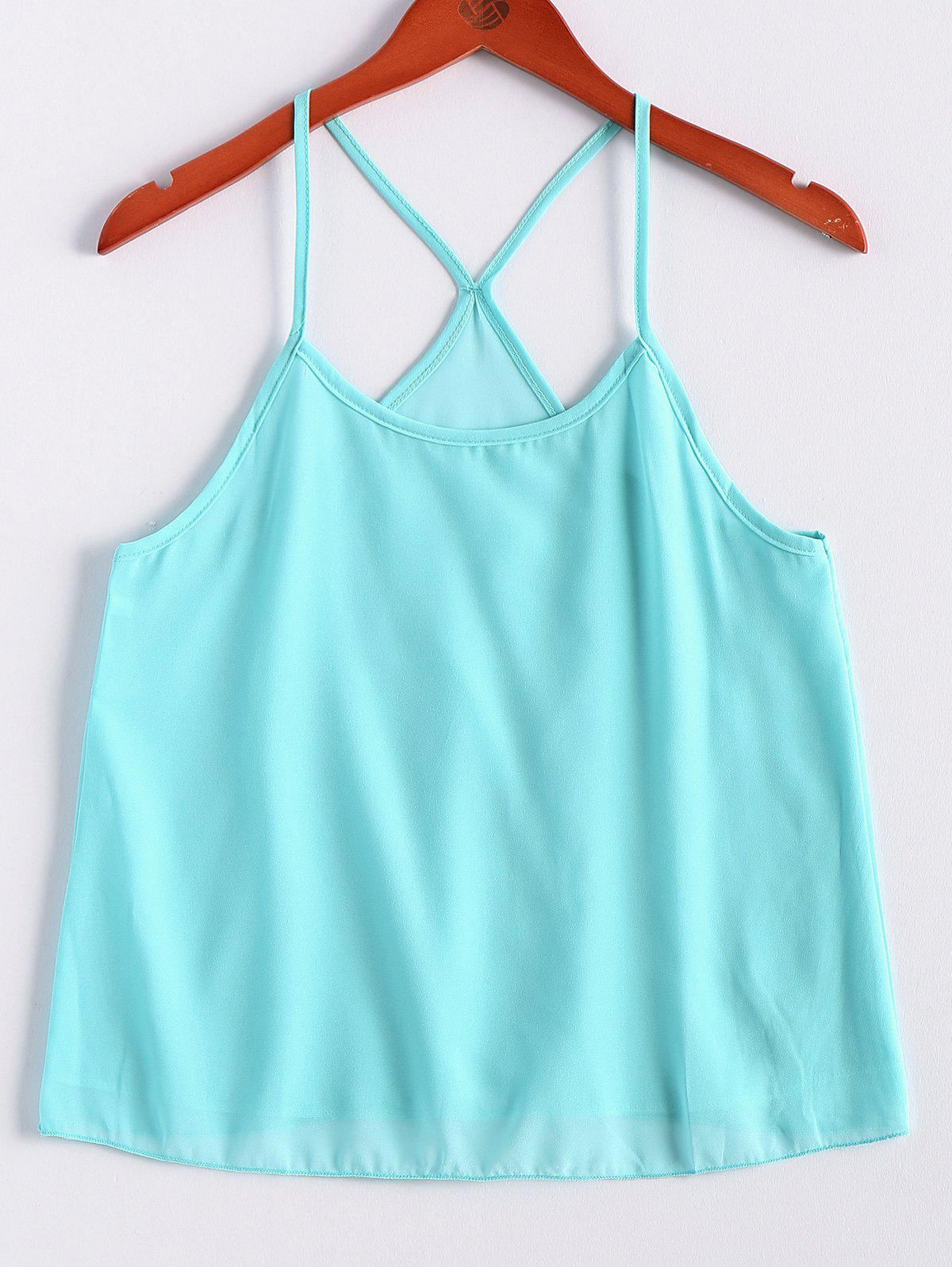 Spaghetti Strap Solid Color Camisole Top - LIGHT GREEN S