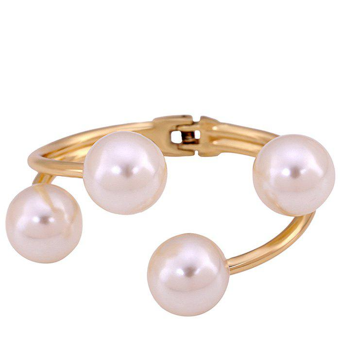 Layered Artificial Pearl Cuff Bracelet - GOLDEN