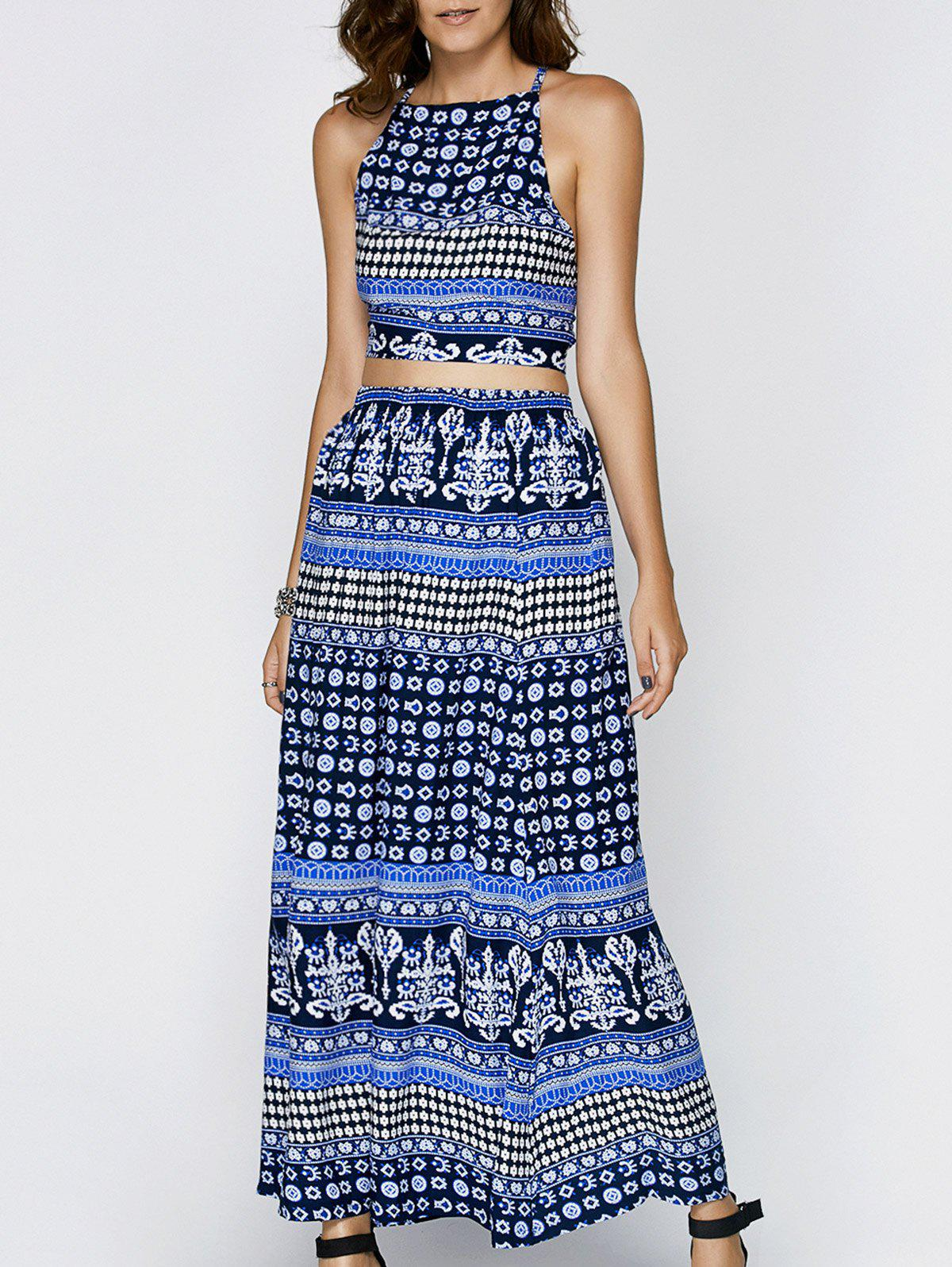 Stylish Women's Printed Backless Top + Maxi Skirt Twinset - BLUE 2XL