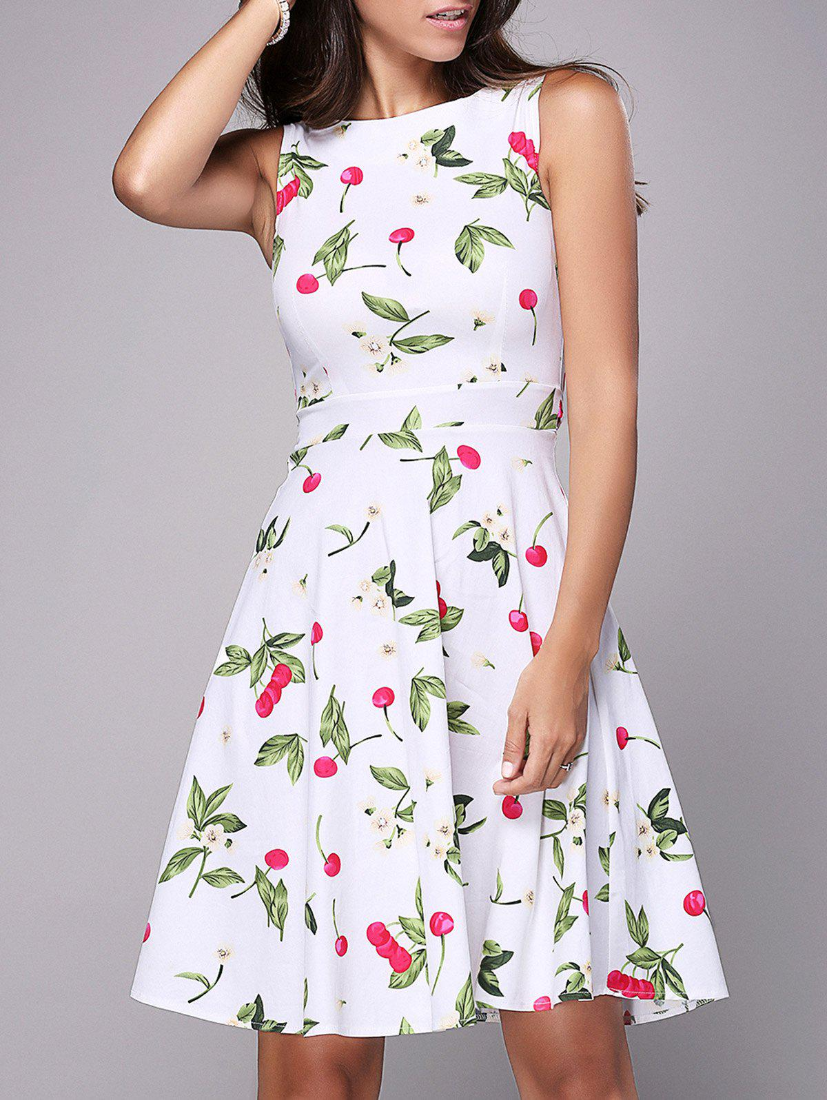 Mini Cherry Print Flare Dress - WHITE 2XL