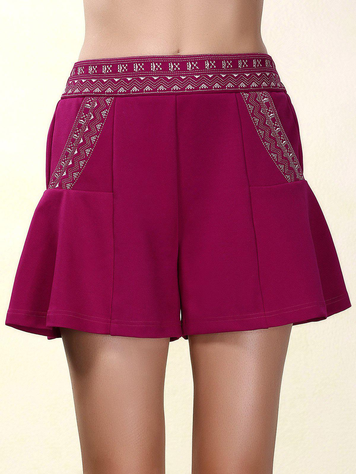 Ethnic Style Elastic Waist Loose-Fitting Embroidered Women's Shorts
