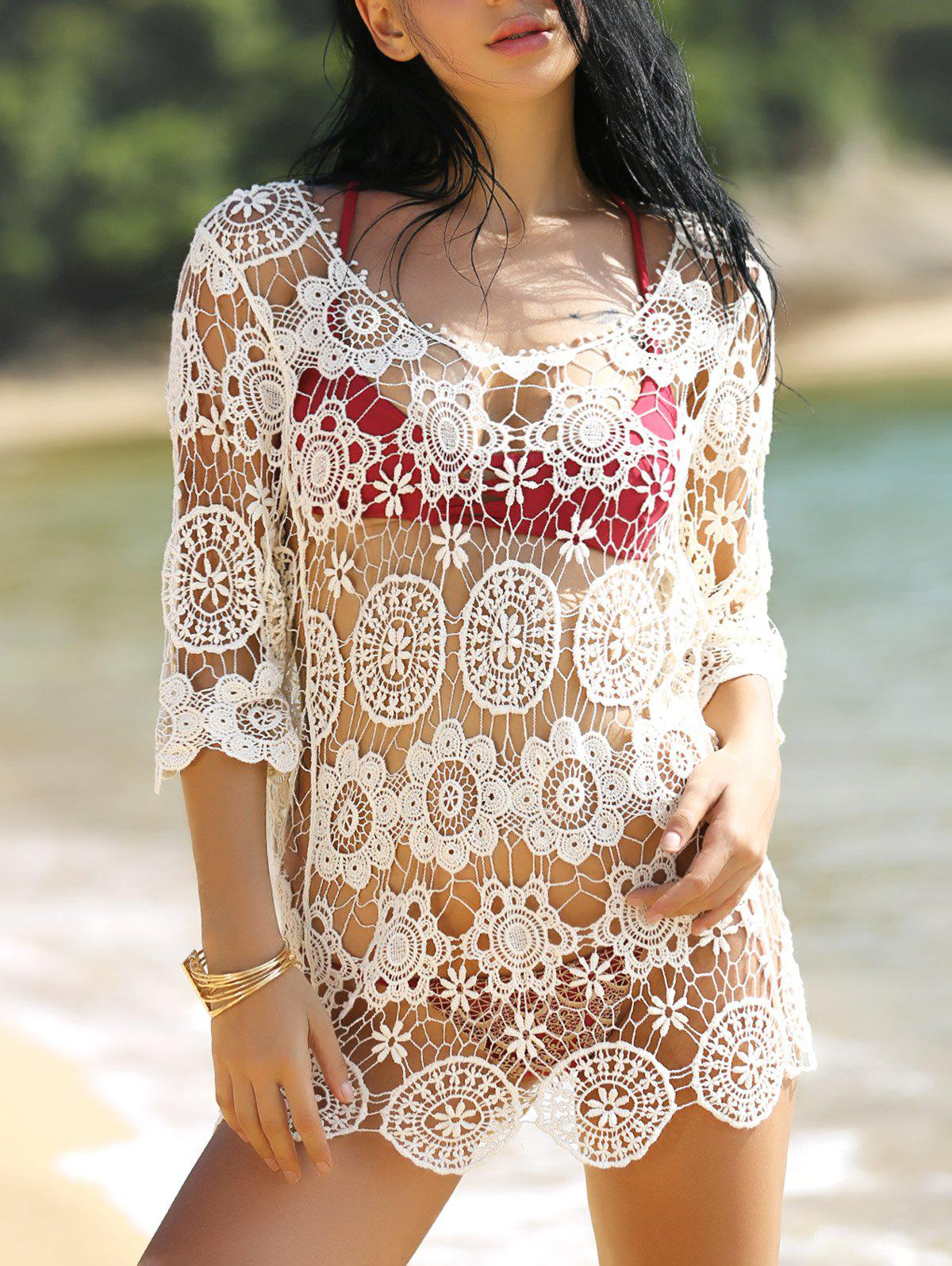 Femmes Élégant  's manches 3/4 évider Crocheting Cover-Up - Blanc ONE SIZE(FIT SIZE XS TO M)