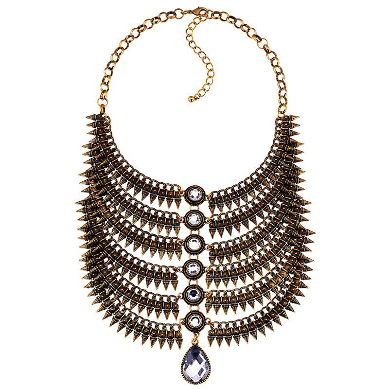 Chic Layered Artificial Gem Water Drop Necklace For Women