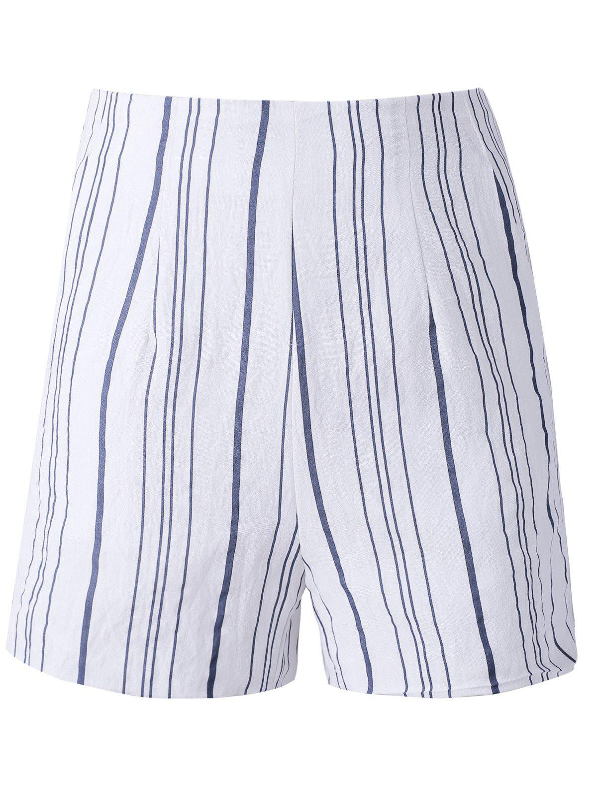 Fashion Woman's Irregular Stripe High Waist Shorts - COLORMIX L