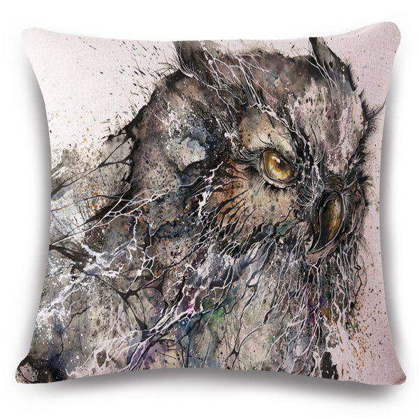 Stylish Owl Hand Painted Broken Pattern Square Shape Flax Pillowslip (Without Pillow Inner)