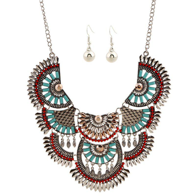 A Suit of Ethnic Hollow Out Faux Gem Beaded Necklace and Earrings - SILVER
