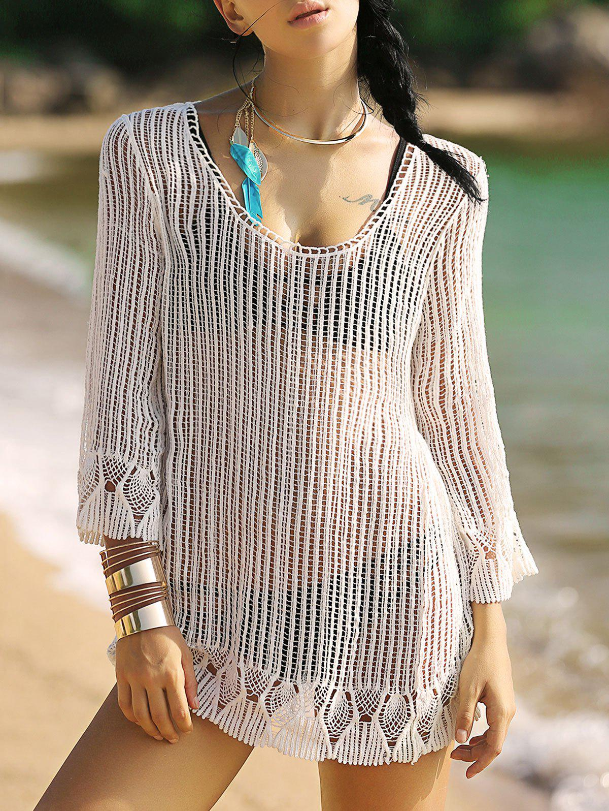 Alluring Women's 3/4 Sleeve Hollow Out Fringed Cover-Up - WHITE ONE SIZE(FIT SIZE XS TO M)