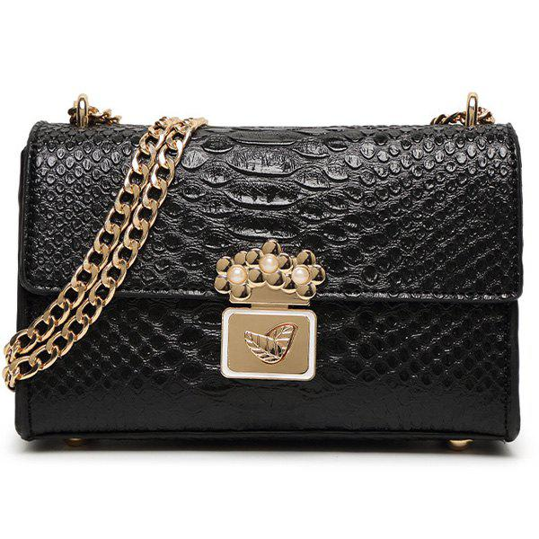 Stylish Crocodile Print and Metal Design Women's Crossbody Bag -  BLACK