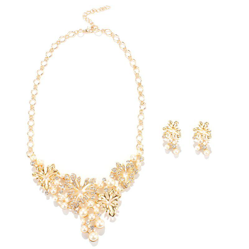 Maple Leaf Shape Rhinestone Faux Pearl Necklace and Earrings - GOLDEN