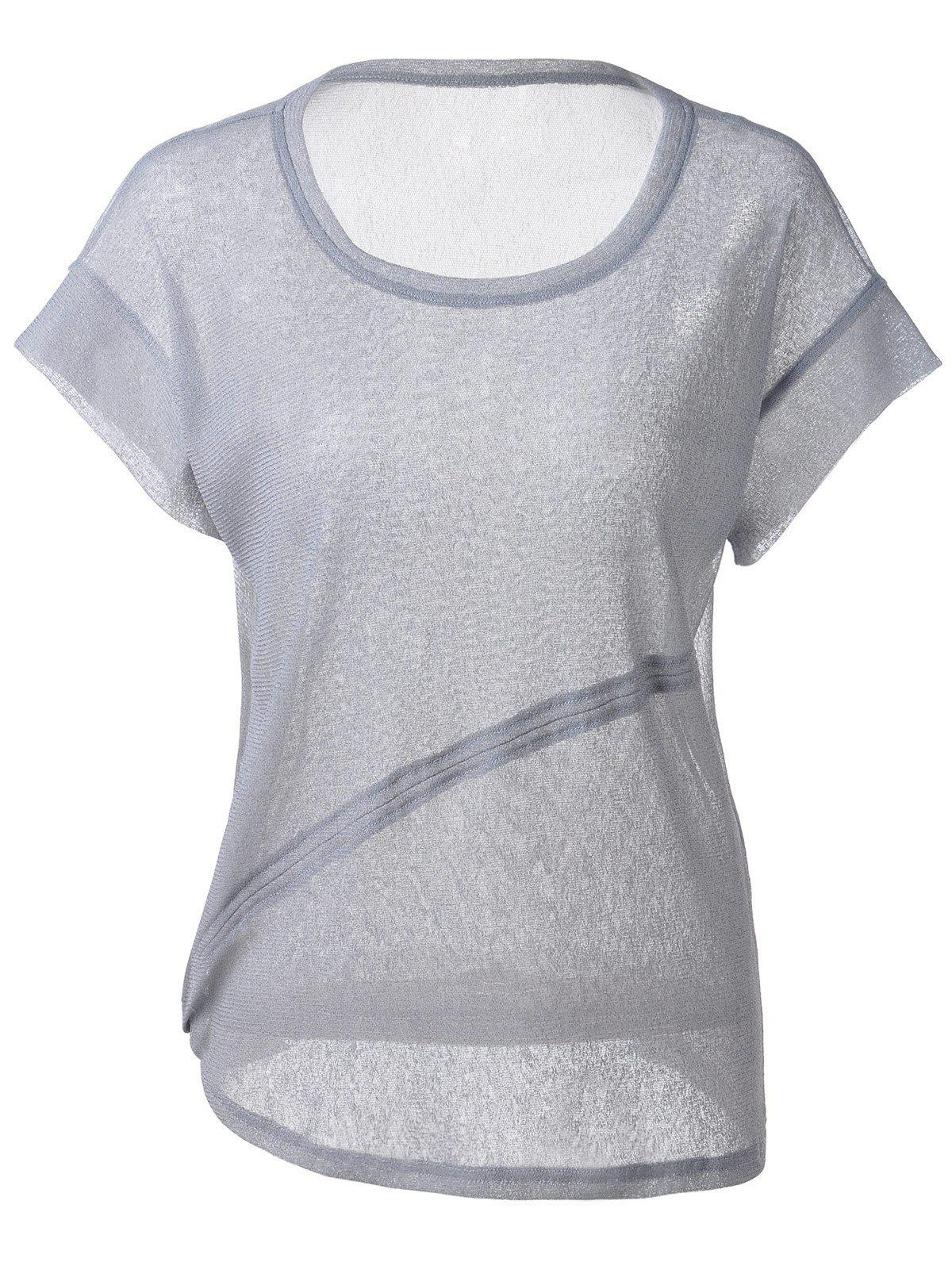Fashionable Women's Loose-Fitting Scoop Neck Cut-Off Rule T-shirt - L BLUE GRAY