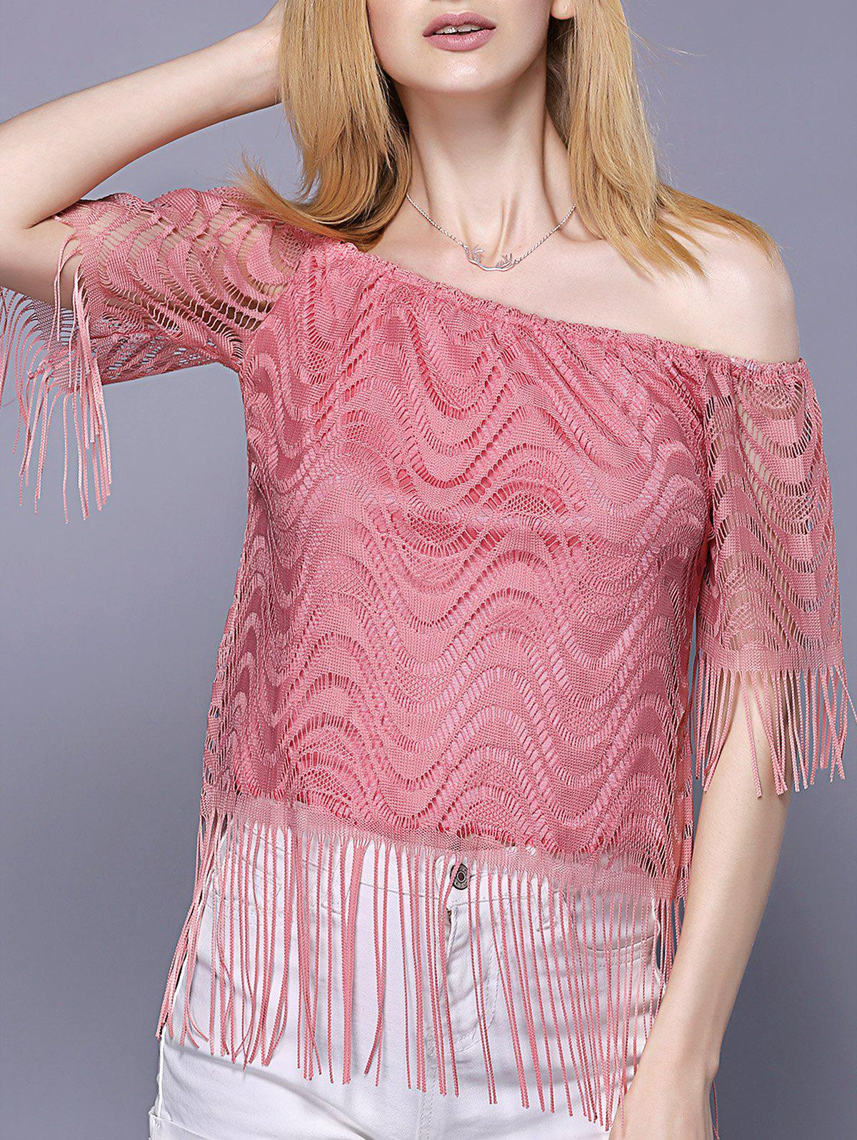 Off The Shoulder Tassel Embellished Women's Top - PINK S