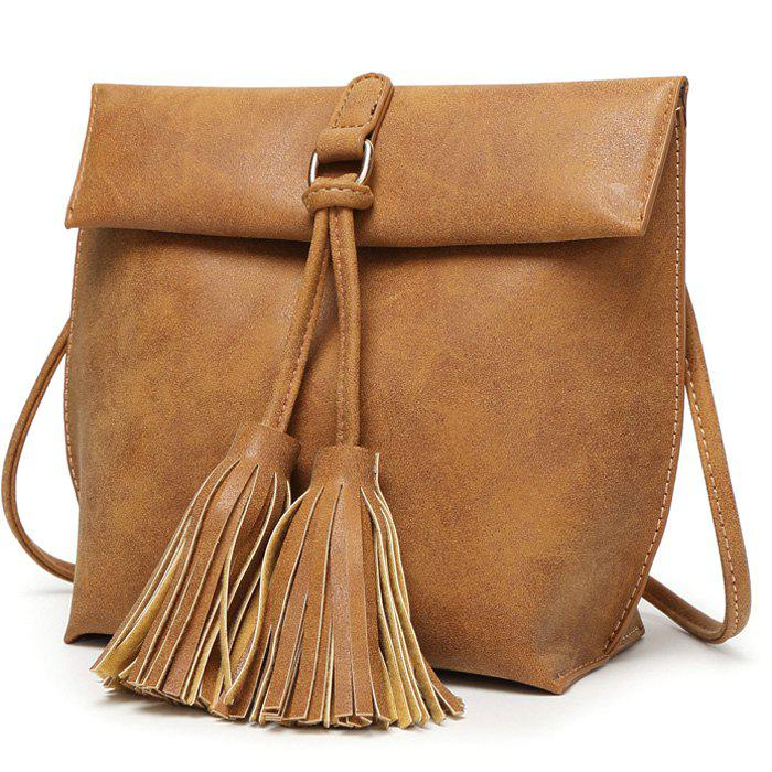 Casual Tassels and Solid Color Design Women's Crossbody Bag - BROWN