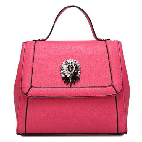 Elegant Artificial Jewel and Solid Color Design Women's Tote Bag - ROSE MADDER