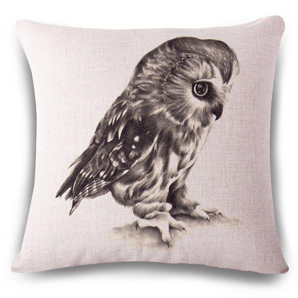 Stylish Night Owl Hand Painted Pattern Square Shape Flax Pillowslip (Without Pillow Inner)