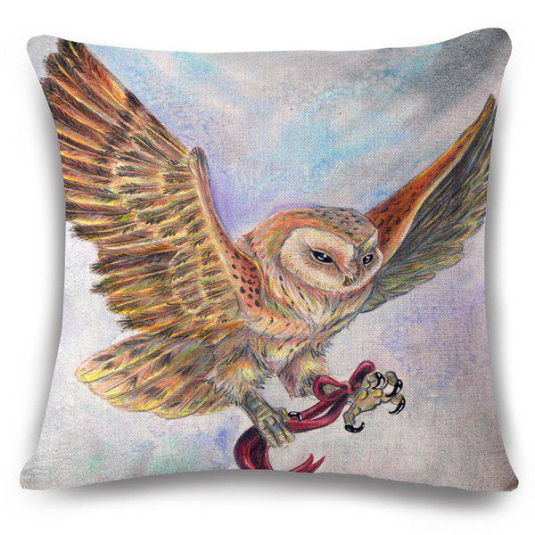 Stylish Bowknot Owl Hand Painted Pattern Square Shape Flax Pillowslip (Without Pillow Inner) -  COLORMIX