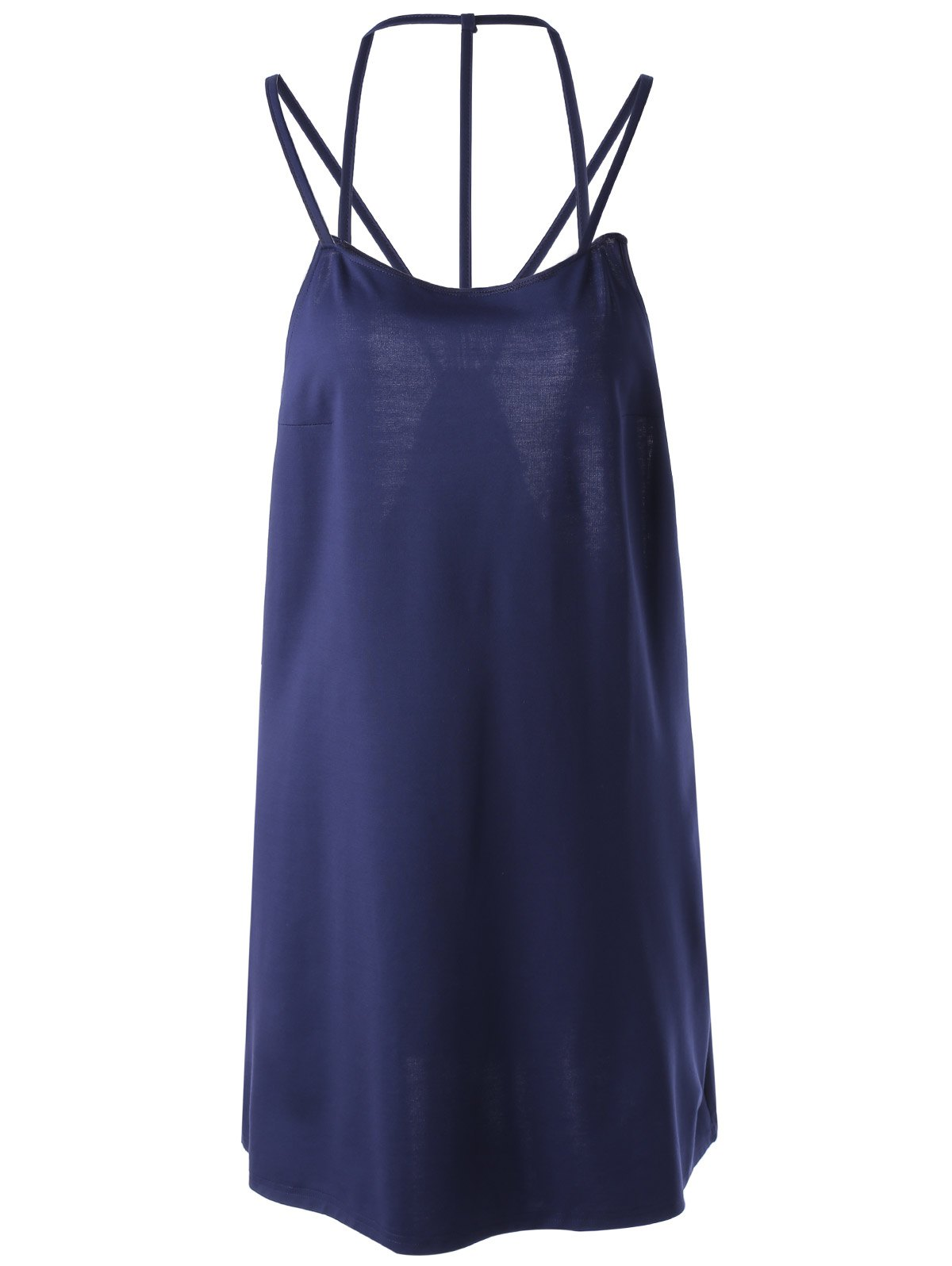 Stylish Backless Sleeveless Pure Color Dress For Women